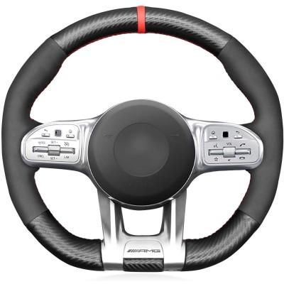 Loncky Custom Fit Car OEM Hand Stitched PU Carbon Fiber Black Genuine Leather Steering Wheel Cover for Mercedes Benz AMG CLA CLS GLC GLE GLB S E W177 C190 R190 W205 C118 C257 W213 H247 X253 W167 X167 W222 Interior Accessories