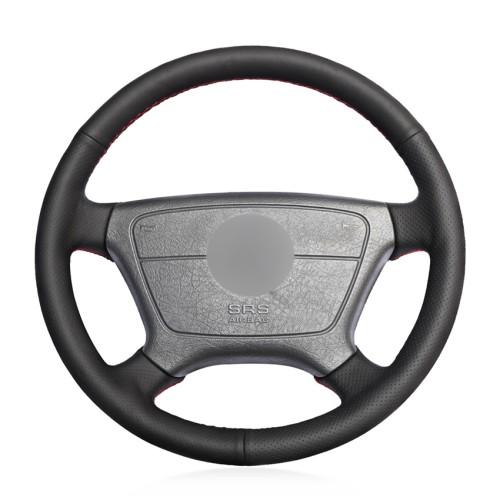 Loncky Car Custom Fit OEM Black Genuine Leather Steering Wheel Cover for Mercedes Benz E-Class W210 E200 E240 E280 E320 1995-2002 W140 S320 S350 S420 1991-1995