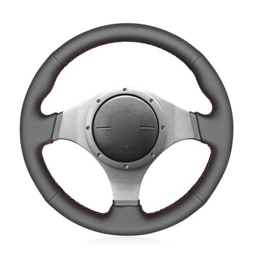 Loncky Car Custom Fit OEM Black Genuine Leather Steering Wheel Cover for Mitsubishi Lancer Evolution 8 VIII 2003-2005 Lancer Evolution 9 IX 2005-2007 Accessories