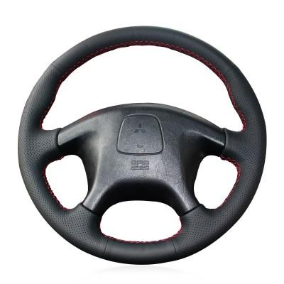 Loncky Auto Custom Fit OEM Black Genuine Leather Car Steering Wheel Cover for Mitsubishi Pajero Old Mitsubishi Pajero Sport Accessories