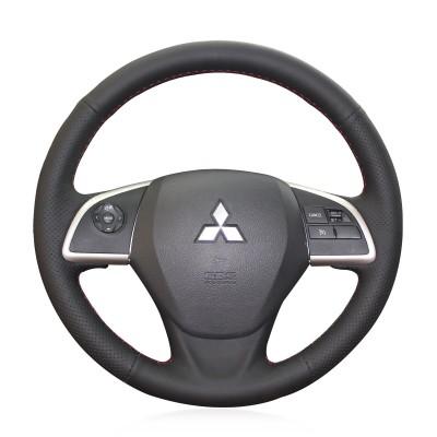 Loncky Auto Custom Fit OEM Black Genuine Leather Car Steering Wheel Cover for Mitsubishi ASX 2013-2019 Mitsubishi Outlander 2013-2019 Mitsubishi Mirage 2012-2019 Mitsubishi L200 2015-2017 Mitsubishi Eclipse (Cross) 2017-2019 (EU)