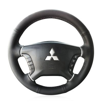 Loncky Auto Custom Fit OEM Black Genuine Leather Car Steering Wheel Cover for Mitsubishi Pajero 2007 2008 2009 2010 2011 2012 2013 2014 Mitsubishi Galant 2008-2012 Accessories