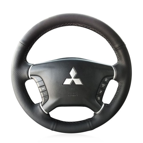 Loncky Auto Custom Fit OEM Black Genuine Leather Car Steering Wheel Cover for Mitsubishi Pajero 2007 2008 2009 2010 2011 2012 2013 2014 Mitsubishi Galant 2008-2012 Accessories