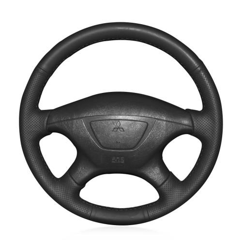 Loncky Auto Custom Fit OEM Black Genuine Leather Car Steering Wheel Cover for Mitsubishi Pajero Sport 2004 Montero Sport 2004 Accessories