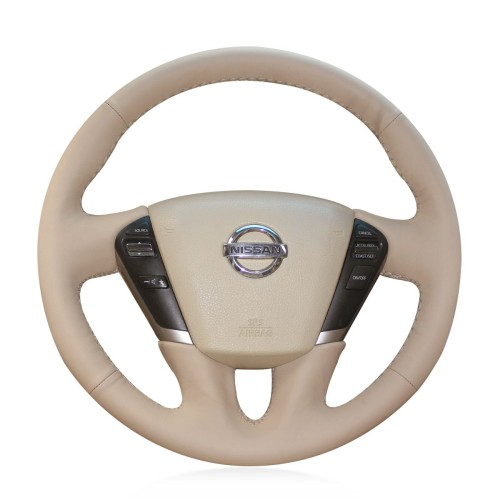 Loncky Auto Custom Fit OEM Beige Genuine Leather Car Steering Wheel Cover for Nissan Murano 2009 2010 2011 2012 2013 2014 Nissan Quest 2011 2012 2013 2014 2015 Accessories