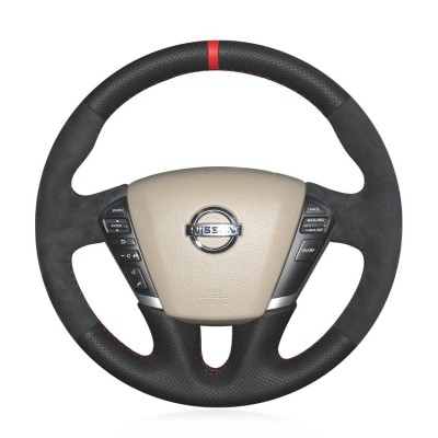 Loncky Auto Custom Fit OEM Black Genuine Leather Suede Car Steering Wheel Cover for Nissan Teana 2008-2012 Murano 2009 2010 2011 2012 2013 2014 Quest 2011-2017 Accessories