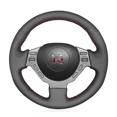 Loncky Auto Custom Fit OEM Black Genuine Leather Car Steering Wheel Cover for Nissan GTR GT-R (Nismo) 2008 2009 2010 2011 2012 2013 2014 2015 2016 Accessories