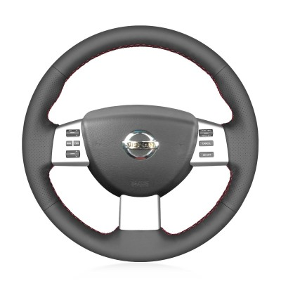 Loncky Auto Custom Fit OEM Black Genuine Leather Car Steering Wheel Cover for Nissan Altima 2005 2006 Nissan Quest 2004 2005 2006 2007 2008 2009 Accessories