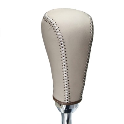 Loncky Beige Genuine Leather Custom Car Gear Shift Knob Cover for Nissan Murano 2009 2010 2011 2012 2013 2014 Automatic