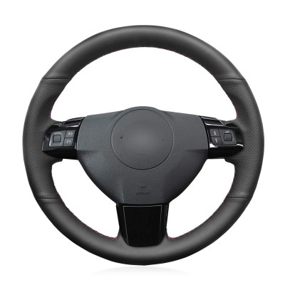 Loncky Black Genuine Leather Custom Fit Car Steering Wheel Cover for Opel Astra 2004 2005 Corsa 2009 Zaflra 2004 2005 2006 Accessories