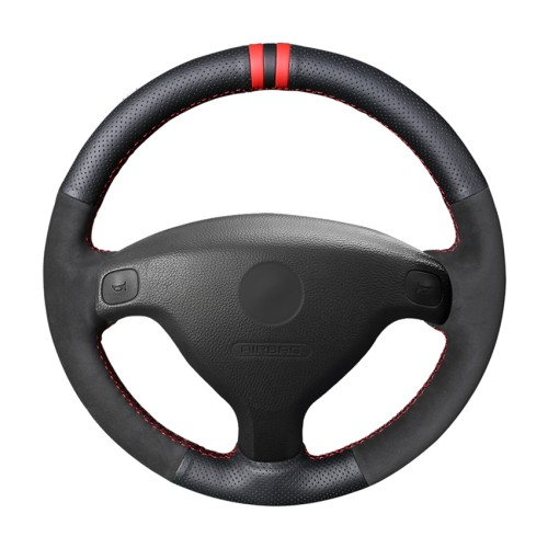 Loncky Auto Custom Fit OEM Black Suede Leather Car Steering Wheel Cover for Opel Astra (G) 1998-2004 Zafira (A) 1999-2005 Agila (A) 2000-2004 Buick Sail Accessories