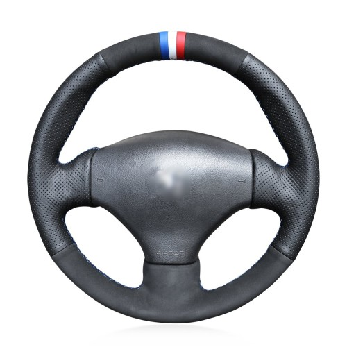 Loncky Auto Custom Fit OEM Black Genuine Leather Black Suede Steering Wheel Cover for Peugeot 206 1998-2005 206 SW 2003-2005 206 CC 2004 2005 Accessories