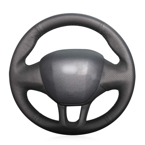 Loncky Auto Custom Fit OEM Black Genuine Leather Steering Wheel Covers for Peugeot 208 2011 2012 2013 2014 2015 2016 2017 2018 2019 Peugeot 2008 2013-2019 Accessories