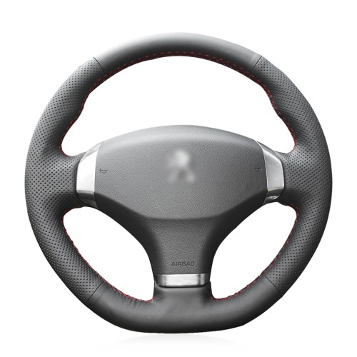 Loncky Auto Custom Fit OEM Black Genuine Leather Steering Wheel Cover for 2013 Peugeot 408 Accessories