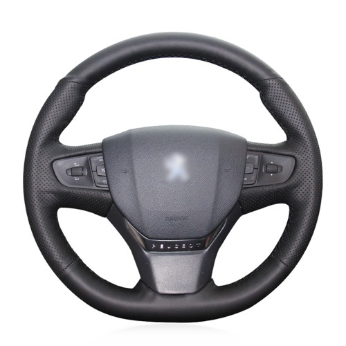 Loncky Auto Custom Fit OEM Black Genuine Leather Steering Wheel Covers for 2014 2015 Peugeot 408 Accessories