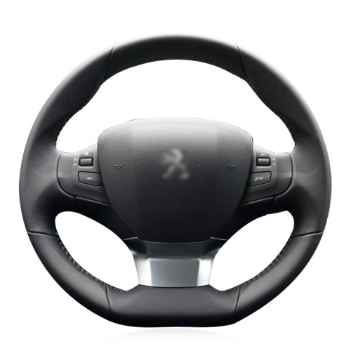 Loncky Auto Custom Fit OEM Black Genuine Leather Steering Wheel Cover for Peugeot 308 2016 2017 Peugeot 308 Accessories