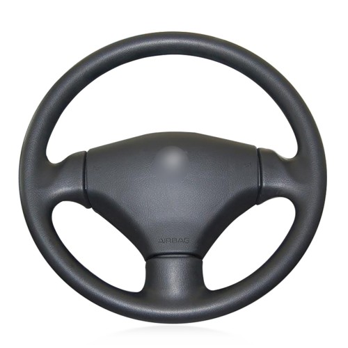 Loncky Auto Custom Fit OEM Black Genuine Leather Steering Wheel Cover for 2003 2004 2005 2006 Peugeot 206 Accessories