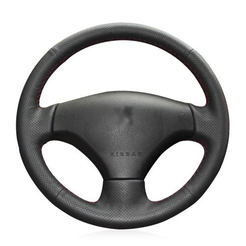Loncky Auto Custom Fit OEM Black Genuine Leather Steering Wheel Cover for Peugeot 206 2007 2008 2009 Peugeot 207 Citroen C2 Accessories
