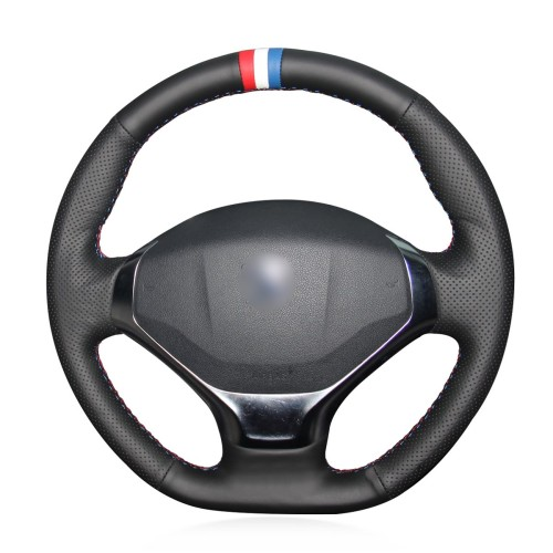 Loncky Auto Custom Fit OEM Black Genuine Leather Steering Wheel Cover for 2013 2014 2015 Peugeot 3008 Accessories