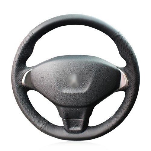 Loncky Auto Custom Fit OEM Black Genuine Leather Steering Wheel Cover for Peugeot 301 Accessories