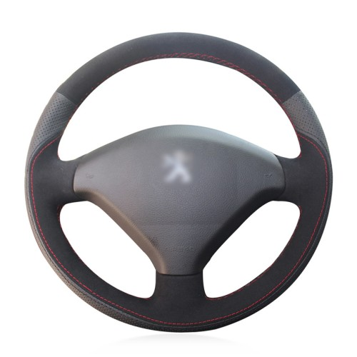 Loncky Auto Custom Fit OEM Black Genuine Leather Black Suede Steering Wheel Cover for Peugeot 307 2001 2002 2003 2004 2005 2006 2007 2008 Peugeot 307 SW 2005 2006 2007 2008 Accessories