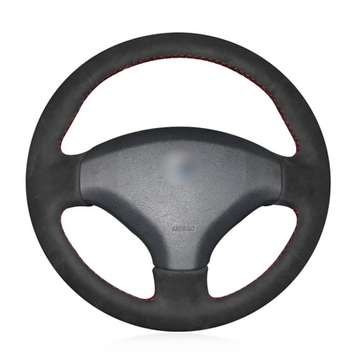 Loncky Auto Custom Fit OEM Black Suede Steering Wheel Cover for Peugeot 308 2007 2008 2009 2010 2011 2012 2013 Peugeot 408 2012 2013 2014 Accessories