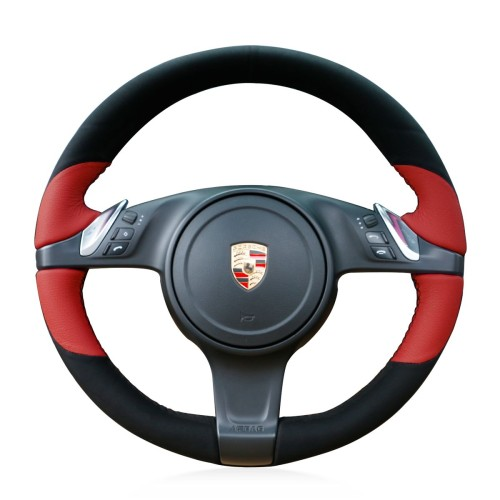 Loncky Auto Custom Fit OEM Black Suede Red Leather Car Steering Wheel Cover for Porsche 911 Porsche Boxster Porsche Cayenne Porsche Panamera Porsche Cayman Accessories