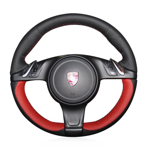Loncky Auto Custom Fit OEM Black Red Genuine Leather Car Steering Wheel Cover for Porsche 911 Porsche Boxster Porsche Cayenne Porsche Panamera Porsche Cayman Accessories