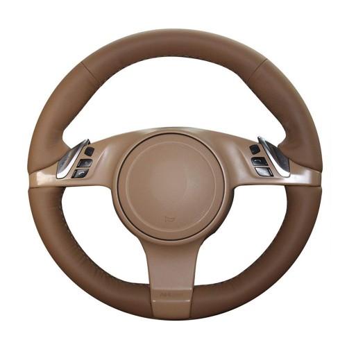 Loncky Auto Custom Fit OEM Brown Genuine Leather Car Steering Wheel Cover for Porsche 911 Porsche 911 Carrera S / Porsche Boxster S Boxster Base / Porsche Cayenne Base Cayenne S / Porsche Panamera Accessories