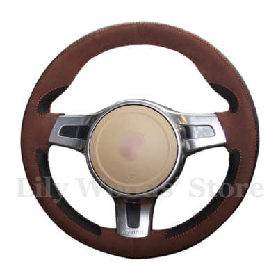Loncky Auto Custom Fit OEM Black Genuine Leather Car Steering Wheel Cover for Porsche Boxster Porsche 911 Porsche Cayenne Porsche Cayman Porsche Panamera Accessories