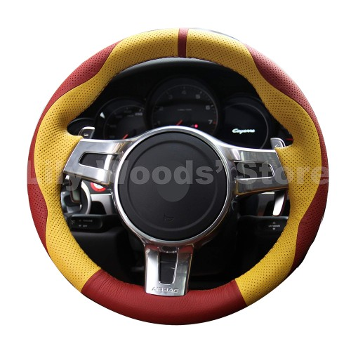 Loncky Auto Custom Fit OEM Red Yellow Genuine Leather Car Steering Wheel Cover for Porsche Boxster Porsche 911 Porsche Cayenne Porsche Cayman Porsche Panamera Accessories