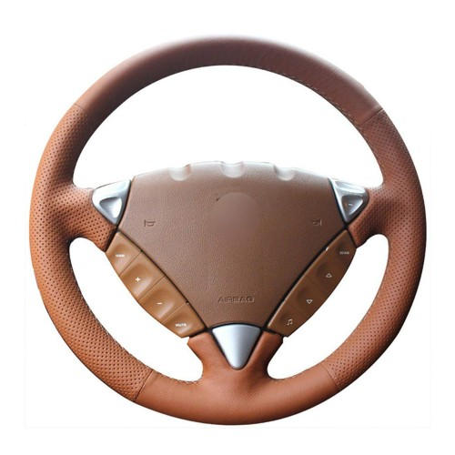 Loncky Auto Custom Fit OEM Orange Genuine Leather Car Steering Wheel Cover for Porsche Cayenne S 2003 2004 2005 2006 2007 2008 2009 2010 / Porsche Cayenne Base 2008 2009 Accessories