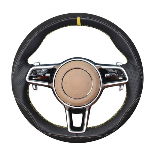 Loncky Auto Custom Fit OEM Black Genuine Suede Car Steering Wheel Cover for 2015-2017 Parsche Cayenne S Cayenne Base Cayenne E-Hybrid S Porsche Macan/2015 Porsche 918 Spyder/2017 Porsche 718 Boxster 718 Cayman Porsche 911/2016 Cayman GT4