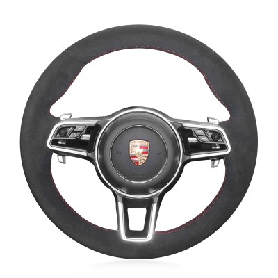 Loncky Auto Custom Fit OEM Black Suede Car Steering Wheel Cover for 2015-2017 Parsche Cayenne S Cayenne Base Cayenne E-Hybrid S Porsche Macan/2015 Porsche 918 Spyder/2017 Porsche 718 Boxster 718 Cayman Porsche 911/2016 Cayman GT4