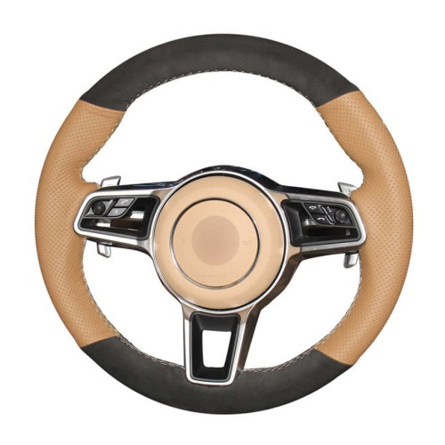 Loncky Auto Custom Fit OEM Brown Genuine Suede Car Steering Wheel Cover for 2015-2017 Parsche Cayenne S Cayenne Base Cayenne E-Hybrid S Porsche Macan/2015 Porsche 918 Spyder/2017 Porsche 718 Boxster 718 Cayman Porsche 911/2016 Cayman GT4