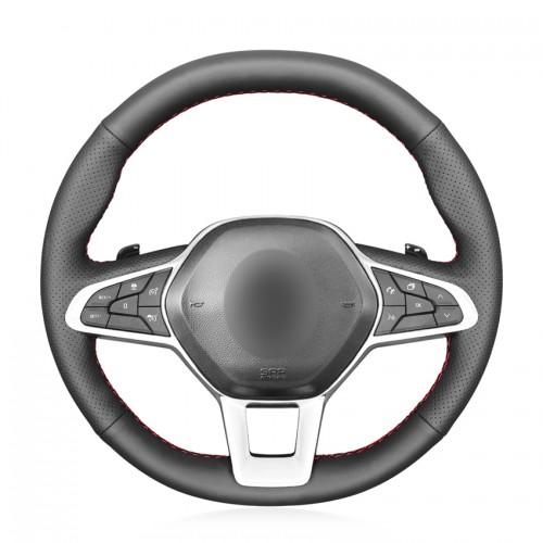 Loncky Car Custom Fit OEM Black Genuine Leather Steering Wheel Cover for Renault Clio 5 (V) 2019-2020 Zoe 2019-2020 Captur 2019-2020