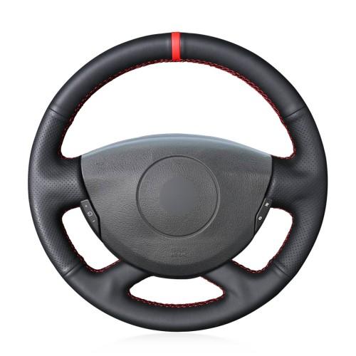 Loncky Auto Custom Fit OEM Black Genuine Leather Steering Wheel Covers for Renault Laguna 2004-2007 Vel Satis 2001-2005 Accessories