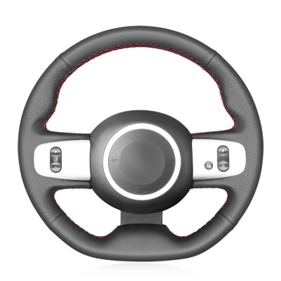 Loncky Car Custom Fit OEM Black Genuine Leather Steering Wheel Cover for Renault Twingo 3 2014 2015 2016 2017 2018 2019 Accessories