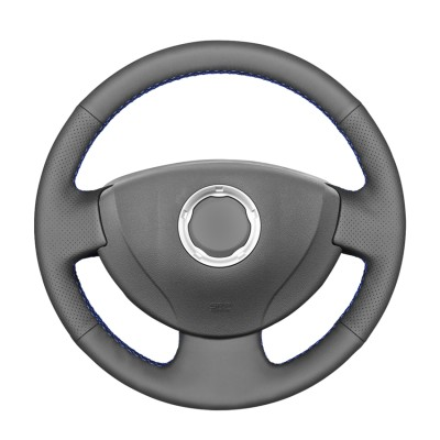 Loncky Black Genuine Leather Custom Fit Car Steering Wheel Cover for Renault Logan 1 2009-2015 Renault Sandero 1 2009-2014 Renault Clio 2 2001-2005 for Lada Largus 1 2012-2019 for Nissan Almera 3