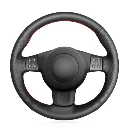 Loncky Auto Custom Fit OEM Black Genuine Leather Car Steering Wheel Cover for Seat Leon Mk2 Ibiza 6L 2006 2007 2008 Accessories