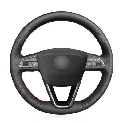 Loncky Auto Custom Fit OEM Black Genuine Leather Car Steering Wheel Cover for Seat Leon 5F Mk3 2013-2019 Seat Ibiza 6J 2016- 2019 Seat Arona 2018-2019 Seat Alhambra 2016-2019 Accessories
