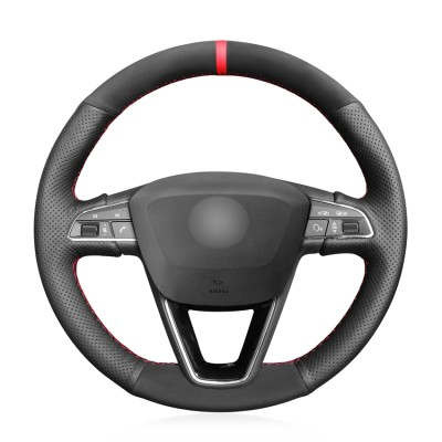 Loncky Auto Custom Fit OEM Black Genuine Leather Suede Car Steering Wheel Cover for Seat Leon 5F Mk3 2013-2019 Seat Ibiza 6J 2016- 2019 Seat Arona 2018-2019 Seat Alhambra 2016-2019 Accessories