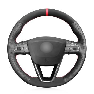 Loncky Car Custom Fit OEM Black Genuine Leather Suede Steering Wheel Cover for Seat Leon 5F Mk3 2013-2019 / Ibiza 6J 2016-  2019 / Tarraco 2019 / Arona 2018-2019 / Ateca 2016-2019 / Alhambra 2016 2019