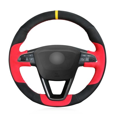 Loncky Auto Custom Fit OEM Black Red Suede Car Steering Wheel Cover for Seat Leon 5F Mk3 2013-2019 / Ibiza 6J 2016-  2019 / Tarraco 2019 / Arona 2018-2019 / Ateca 2016-2019 / Alhambra 2016 2019
