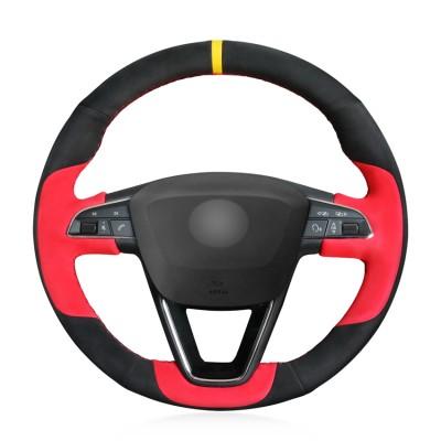 Loncky Auto Custom Fit OEM Black Red Suede Car Steering Wheel Cover for Seat Leon 5F Mk3 2013-2019 / Ibiza 6J 2016-  2019 / Tarraco 2019 / Arona 2018-2019 / Ateca 2016-2019 / Alhambra 2016 2019