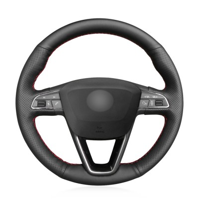 Loncky Auto Custom Fit OEM Black Genuine Leather Car Steering Wheel Cover for Seat Leon 5F Mk3 2013-2019 / Ibiza 6J 2016-  2019 / Tarraco 2019 / Arona 2018-2019 / Ateca 2016-2019 / Alhambra 2016 2019