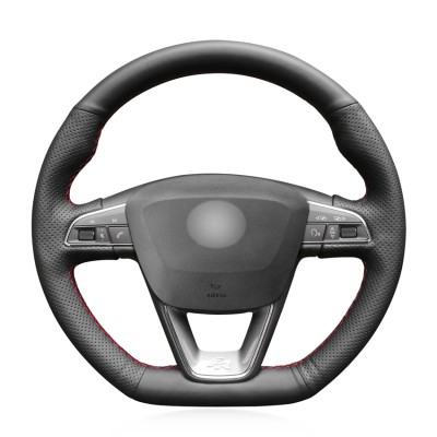 Loncky Auto Custom Fit OEM Black Genuine Leather Car Steering Wheel Cover for Seat Leon Cupra R 2013-2019 / Leon ST Cupra 2013-2019 / Ateca Cupra 2016-2019 / Ateca FR 2016-2019 / Ibiza Cupra 2016-2019 Accessories