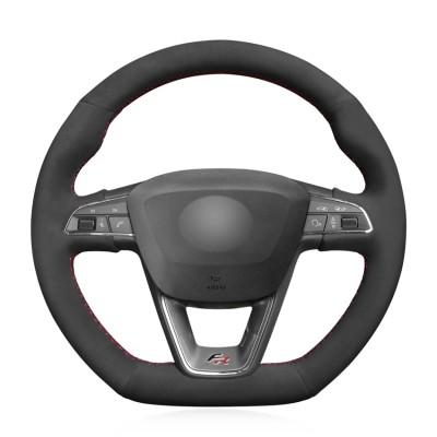 Loncky Auto Suede Custom Steering Wheel Cover for Seat Leon Cupra R 2013-2019 / Leon ST Cupra 2013-2019 / Ateca Cupra 2016-2019 / Ateca FR 2016-2019 / Ibiza Cupra 2016-2019 Accessories
