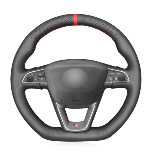 Loncky Auto Custom Fit OEM Black Genuine Leather Car Steering Wheel Cover for Seat Leon Cupra R 2013-2019 / Leon ST Cupra 2013-2019 / Ateca Cupra 2016-2019 / Ateca FR 2016-2019 / Ibiza Cupra 2016-2019 Accessories