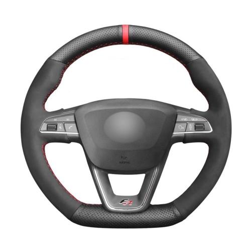 Loncky Auto Custom Fit OEM Black Genuine Leather Suede Car Steering Wheel Cover for Seat Leon Cupra R 2013-2019 / Leon ST Cupra 2013-2019 / Ateca Cupra 2016-2019 / Ateca FR 2016-2019 / Ibiza Cupra 2016-2019 Accessories